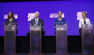 FILE- In this Aug. 28, 2018, file photo, Democratic Candidates for the office of New York Attorney General take part in a debate at John Jay College of Criminal Justice in the Manhattan borough of New York. From left are Letitia James, Sean Patrick Maloney, Leecia Eve, and Zephyr Teachout. The candidates squared off in what will likely be their final debate at The Cooper Union for the Advancement of Science and Art in New York,  Thursday, Sept. 6, 2018. (Holly Pickett/The New York Times via AP, Pool, File)