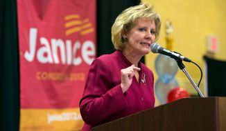 """FILE - In this Nov. 6, 2012, file photo Republican nominee Janice Arnold-Jones speaks at a Republican election party in Albuquerque, N.M. A Republican congressional candidate in New Mexico is drawing criticism for questioning her Democratic opponent's Native American heritage over her immigration views and because she wasn't """"raised on a reservation."""" Janice Arnold-Jones told a Fox & Friends host Ainsley Earhardt on Thursday, Sept. 6, 2018, she didn't doubt Deb Haaland's """"lineage is Laguna"""" but said Haaland """"is a military brat, just like I am."""" (AP Photo/Jake Schoellkopf, File)"""