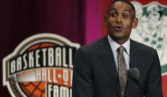 Grant Hill speaks during induction ceremonies at the Basketball Hall of Fame, Friday, Sept. 7, 2018, in Springfield, Mass. (AP Photo/Elise Amendola)