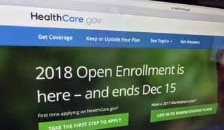 The HealthCare.gov website is photographed in Washington on Dec. 15, 2017. (AP Photo/Jon Elswick) ** FILE **