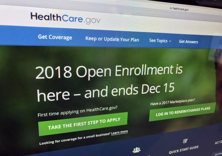 The HealthCare.gov website is photographed in Washington on Dec. 15, 2017. (AP Photo/Jon Elswick) ** FILE **
