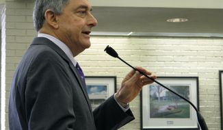 Commissioner of Administration Jay Dardenne, Gov. John Bel Edwards' chief budget adviser, speaks to the Louisiana State University Board of Supervisors about the management transfer planned Oct. 1 for the safety-net hospitals in Shreveport and Monroe, on Friday, Sept. 7, 2018, in Baton Rouge, La. (AP Photo/Melinda Deslatte)