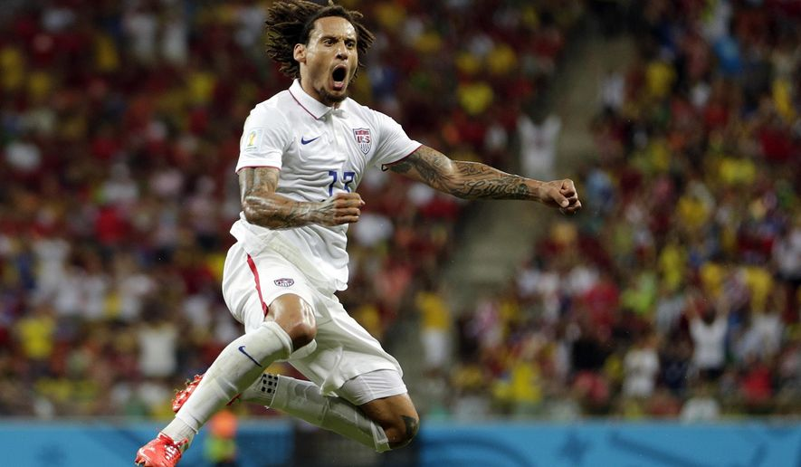 """FILE - In this June 22, 2014, file photo, United States' Jermaine Jones celebrates after scoring his side's first goal during the group G World Cup soccer match against Portugal at the Arena da Amazonia in Manaus, Brazil. Jones announced his retirement, 11 months after his last match for Major League Soccer's LA Galaxy. He tweeted Friday, Sept. 7, 2018, """"after 18 years I say good bye. I have a clear vision, after I had a couple of months to concentrate on what comes next!!!"""" (AP Photo/Julio Cortez, File)"""