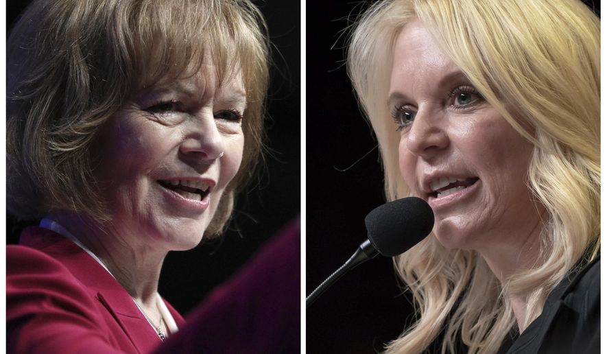 FILE - This combination of June 1, 2018, file photos shows Minnesota U.S. Senate candidates from left, Democratic U.S. Sen Tina Smith and Republican Karin Housley. ( Star Tribune via AP, File)