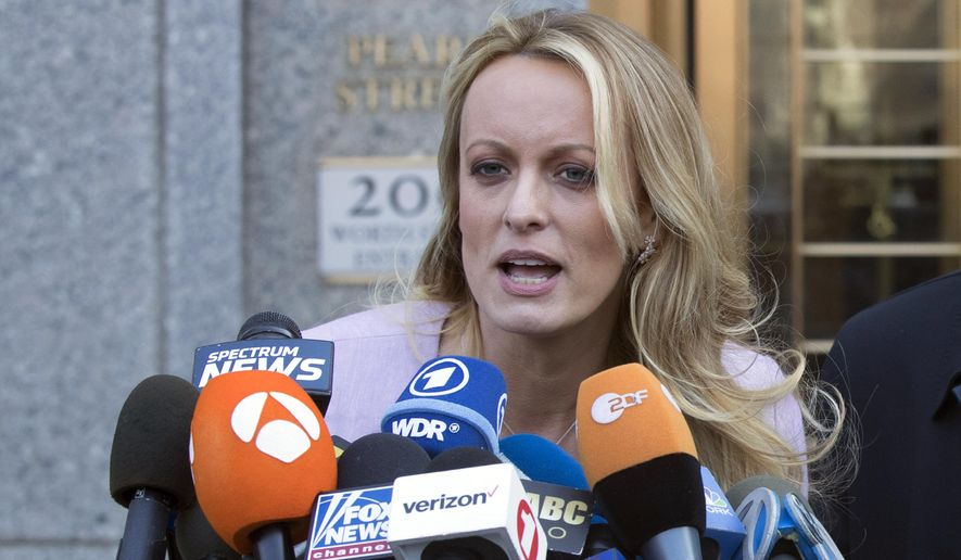In this Monday, April 16, 2018 file photo adult film actress Stormy Daniels speaks outside federal court in New York. (AP Photo/Mary Altaffer, File)