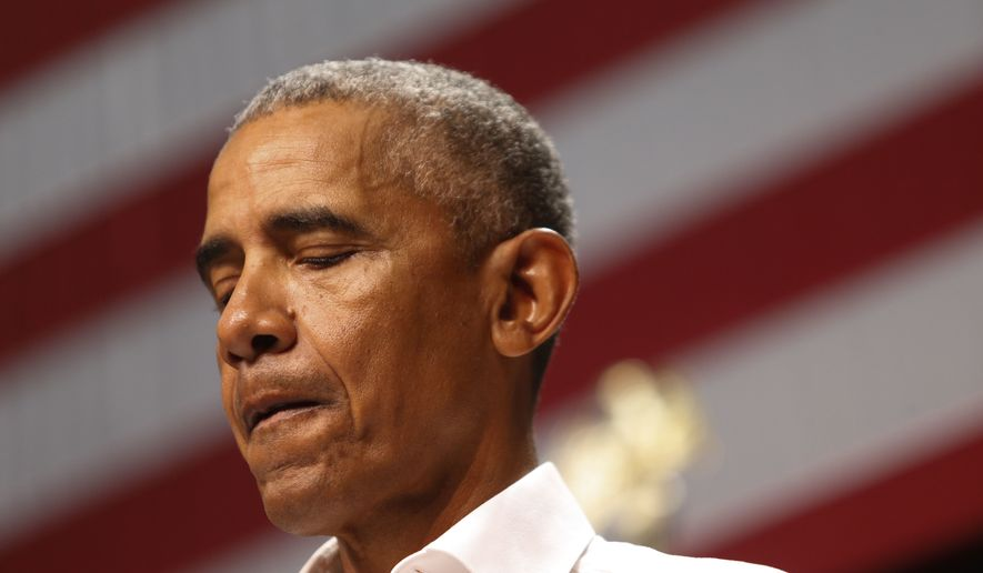 President Barack Obama speaks as he campaigns in support of California congressional candidates, Saturday, Sept. 8, 2018, in Anaheim, Calif. (AP Photo/Ringo H.W. Chiu)