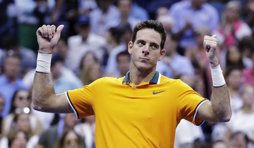 Juan Martin del Potro, of Argentina, reacts after Rafael Nadal, of Spain, retired from a match during the semifinals of the U.S. Open tennis tournament, Friday, Sept. 7, 2018, in New York. (AP Photo/Seth Wenig)