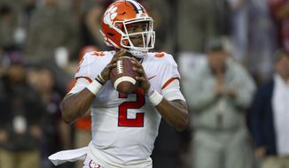 Clemson quarterback Kelly Bryant (2) looks to pass against Texas A&M during the first quarter of an NCAA college football game Saturday, Sept. 8, 2018, in College Station, Texas. (AP Photo/Sam Craft)
