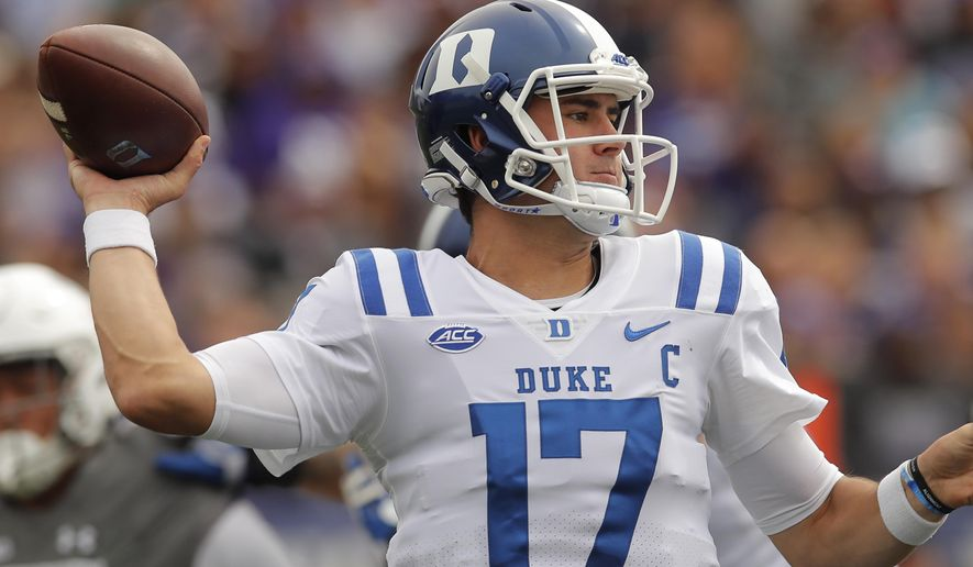 Duke's Daniel Jones makes a pass against Northwestern during the first half of an NCAA college football game Saturday, Sept. 8, 2018, in Evanston, Ill. (AP Photo/Jim Young)