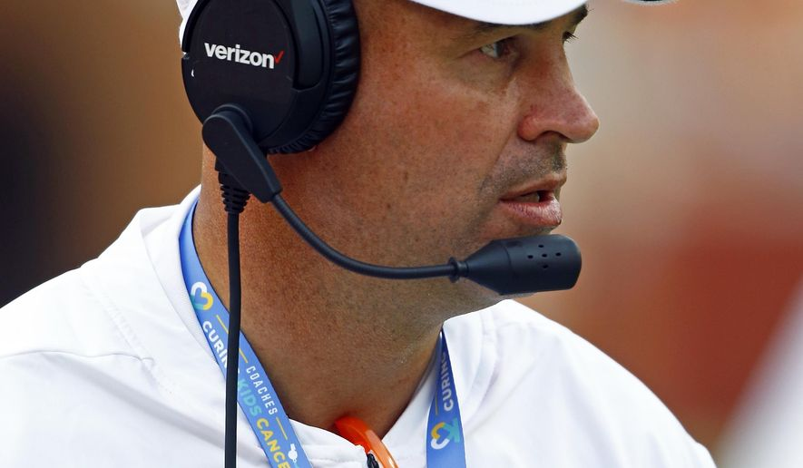 Tennessee head coach Jeremy Pruitt is seen in the first half of an NCAA college football game against East Tennessee State University Saturday, Sept. 8, 2018, in Knoxville, Tenn. (AP Photo/Wade Payne)