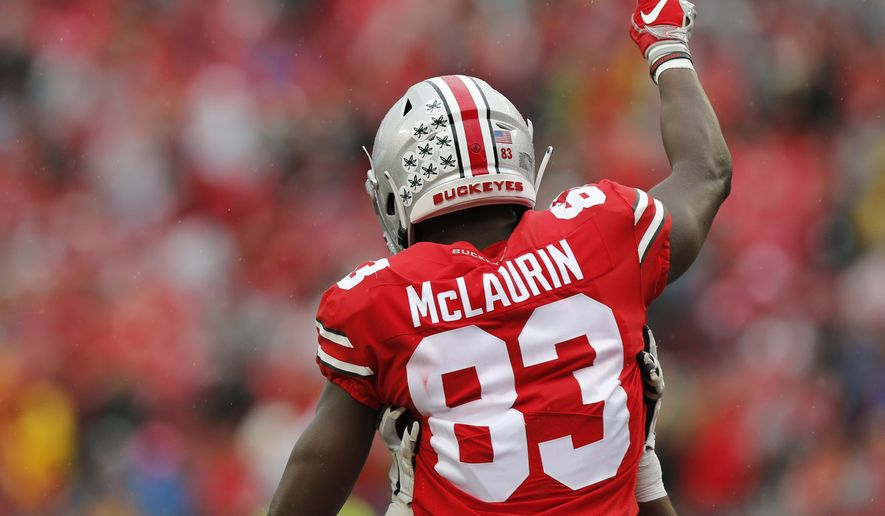 Ohio State receiver Terry McLaurin celebrates his touchdown against Rutgers during the first half of an NCAA college football game Saturday, Sept. 8, 2018, in Columbus, Ohio. (AP Photo/Jay LaPrete) ** FILE **