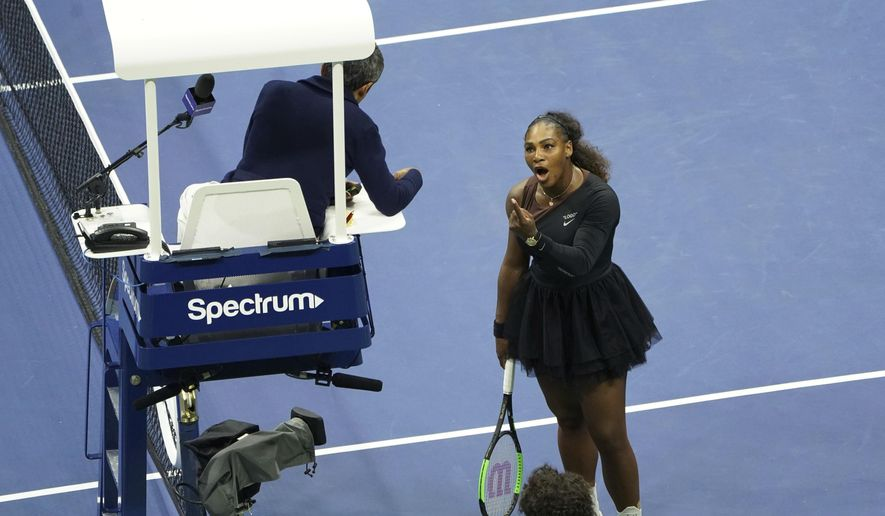 Serena Williams argues with the chair umpire during a match against Naomi Osaka, of Japan, during the women's finals of the U.S. Open tennis tournament at the USTA Billie Jean King National Tennis Center, Saturday, Sept. 8, 2018, in New York. (Photo by Greg Allen/Invision/AP)