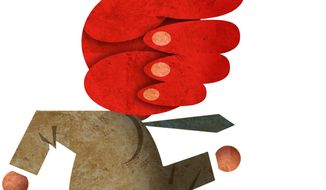 Illustration on ideologues accusing others of being ideologues by Alexander Hunter/The Washington Times