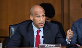 Sen. Cory Booker, D-N.J., questions Supreme Court nominee Judge Brett Kavanaugh as he testifies before the Senate Judiciary Committee on the third day of his confirmation hearing, on Capitol Hill in Washington, Thursday, Sept. 6, 2018. (AP Photo/J. Scott Applewhite) ** FILE **