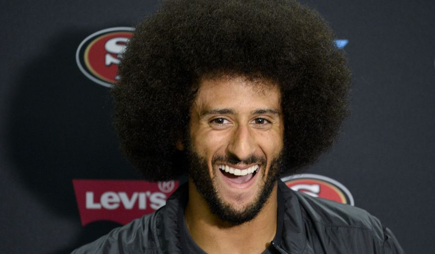 San Francisco 49ers quarterback Colin Kaepernick talks to the media at a news conference an NFL preseason football game against the San Diego Chargers Thursday, Sept. 1, 2016, in San Diego. (AP Photo/Denis Poroy) ** FILE **