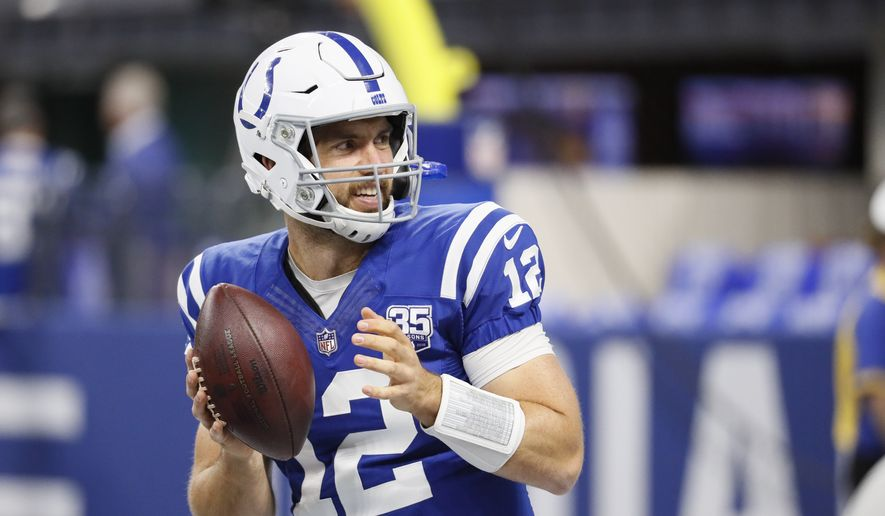 Indianapolis Colts quarterback Andrew Luck (12) warms up before an NFL football game against the Cincinnati Bengals in Indianapolis, Sunday, Sept. 9, 2018. (AP Photo/John Minchillo) **FILE**