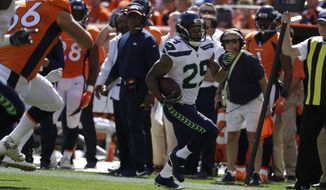 Seattle Seahawks safety Earl Thomas intercepts a pass during the first half of an NFL football game against the Denver Broncos Sunday, Sept. 9, 2018, in Denver. (AP Photo/Jack Dempsey) ** FILE **