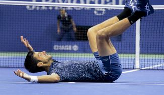 Novak Djokovic, of Serbia, celebrates after defeating Juan Martin del Potro, of Argentina, in the men's final of the U.S. Open tennis tournament, Sunday, Sept. 9, 2018, in New York. (AP Photo/Andres Kudacki)