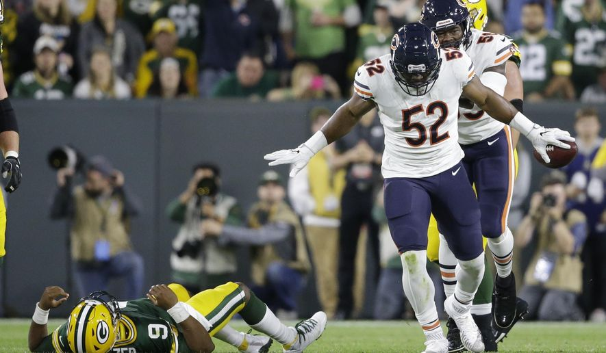 732bb1b81 Chicago Bears  Khalil Mack reacts after recovering a fumble during the  first half of an NFL football game against the Green Bay Packers Sunday