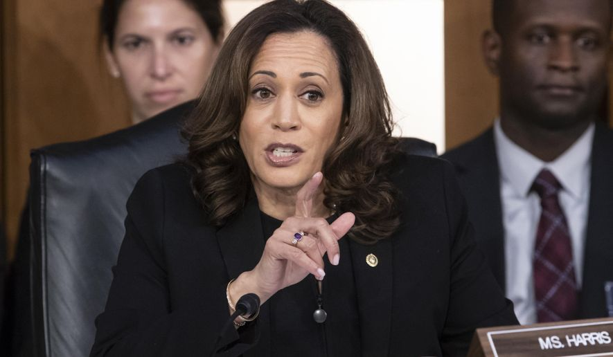 Sen. Kamala Harris, D-Calif., questions Supreme Court nominee Brett Kavanaugh as he testifies before the Senate Judiciary Committee on the third day of his confirmation hearing, on Capitol Hill in Washington, Thursday, Sept. 6, 2018. (AP Photo/J. Scott Applewhite) **FILE**
