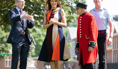 First Lady Melania Trump and Philip May, husband of British Prime Minister Theresa May, visit the Royal Hospital Chelsea | July 13, 2018 (Official White House Photo by Andrea Hanks)