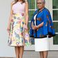 First Lady Melania Trump and Mrs. Kenyatta   August 27, 2018 (Official White House Photo by Andrea Hanks)