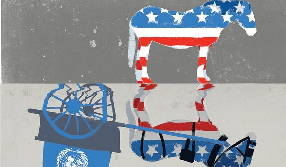 Illustration on detaching from the U.N. by Linas Garsys/The Washington Times