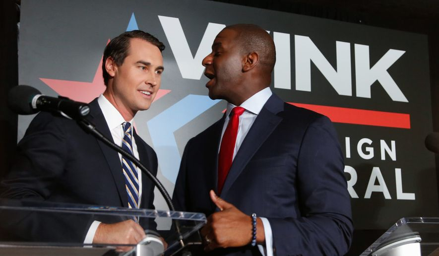 The Tallahassee investigation of city hall corruption came to light in June 2017, not long after Mayor Andrew Gillum (right) declared his candidacy for governor. There have been no indictments or arrests. (Associated Press)