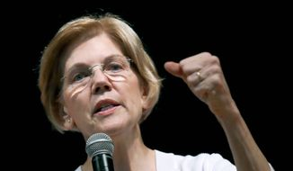 In this Wednesday, Aug. 8, 2018, file photo, U.S. Sen. Elizabeth Warren, D-Mass., speaks during a town hall style gathering in Woburn, Mass. (AP Photo/Charles Krupa, File)
