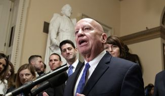 House Ways and Means Committee Chairman Kevin Brady, R-Texas, steward of the GOP tax bill, flanked by Speaker of the House Paul Ryan, R-Wis., left, and Rep. Cathy McMorris Rodgers, R-Wash., right, speaks after passing the Republican tax reform bill in the House of Representatives, on Capitol Hill, in Washington, Tuesday, Dec. 19, 2017. (AP Photo/J. Scott Applewhite) ** FILE **
