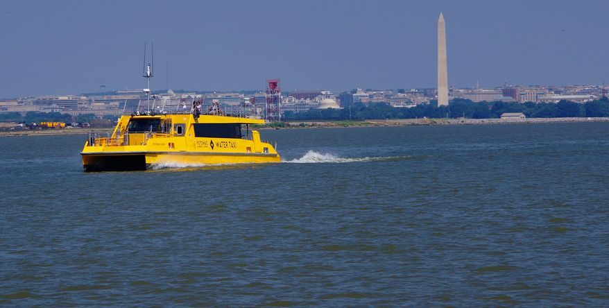 A water taxi pulls out of the Washington D.C. Wharf and jets down the Potomac River on September 6th, 2018 as the Potomac Riverboat Co. ends it's first full summer season and prepares for the off-season ahead. (Photographs by Julia Airey/The Washington Times)