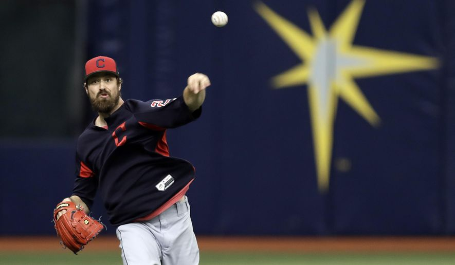Cleveland Indians pitcher Andrew Miller throws in the outfield before a baseball game against the Tampa Bay Rays Monday, Sept. 10, 2018, in St. Petersburg, Fla. Miller came off the disabled list before the game. (AP Photo/Chris O'Meara)