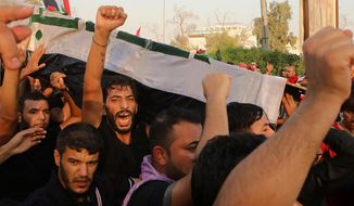 In this Friday, Sept. 7, 2018, file photo, mourners chant anti government slogans while carrying the coffin of Abdul Salam Fathi, a protester whose family said he was killed in a protest, during his funeral in Basra, Iraq. With brackish water pouring from the taps, failing city services and soaring unemployment, the southern Iraqi city of Basra has seen weeks of violent protests in the streets of the country's oil-exporting capital. (AP Photo/Nabil al-Jurani, File)