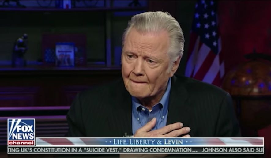 Jon Voight choked back tears talking about his appreciation for President Trump during an interview Sunday with Fox News host Mark Levin. (Fox News)