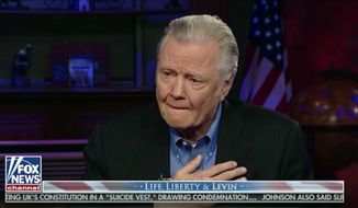 Jon Voight choked back tears talking about his appreciation for President Trump during a 2018 interview with Fox News host Mark Levin. (Fox News) **FILE**