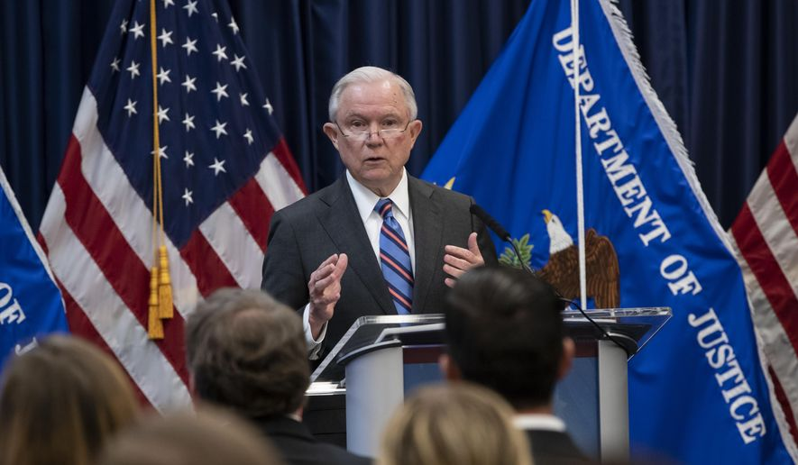 Attorney General Jeff Sessions outlines Trump administration policies as he speaks to new immigration judges, in Falls Church, Va., Monday, Sept. 10, 2018. Immigration judges work for the Justice Department and are not part of the Judicial branch of government. (AP Photo/J. Scott Applewhite)