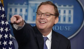 Kevin Hassett, chairman of the Council of Economic Advisers, speaks during the daily press briefing at the White House, Monday, Sept. 10, 2018, in Washington. (AP Photo/Evan Vucci)