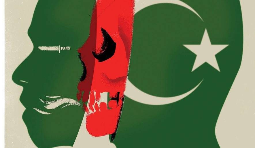Illustration on Islamist extremism by Linas Garsys/The Washington Times