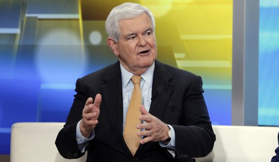 "Former Speaker of the House Newt Gingrich is interviewed on the ""Fox & Friends"" television program, in New York on Thursday, May 24, 2018. (AP Photo/Richard Drew)"