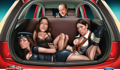 "Ford ""Tied Up"" depicting women forcibly taken in the trunk of the car. The man in the front is supposed to be former Italian Prime Minister Silvio Berlusconi, a man haunted by so many scandals. The Ford Figo was marketed to India, which was battling a wave of high-profile sexual assaults in 2013 when the ad was released."