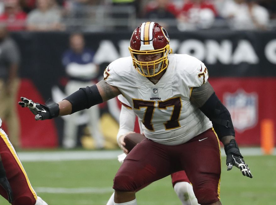 Washington Redskins offensive guard Shawn Lauvao (77) during an NFL football game against the Arizona Cardinals, Sunday, Sept. 9, 2018, in Glendale, Ariz. (AP Photo/Rick Scuteri)