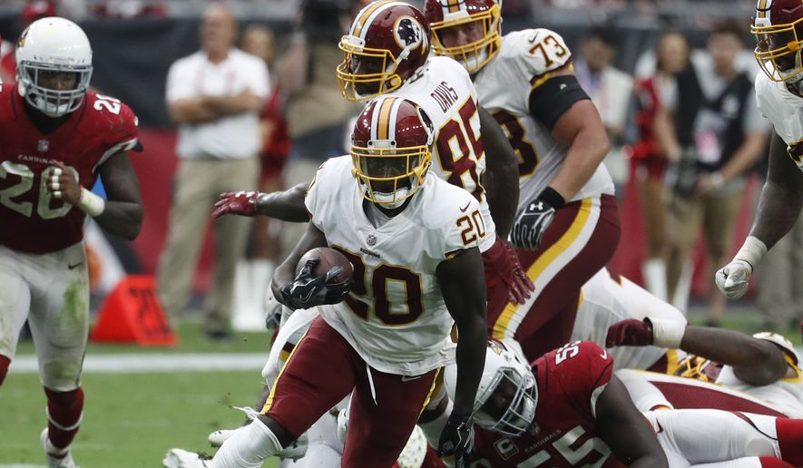 Washington Redskins running back Rob Kelley (20) during an NFL football game against the Arizona Cardinals, Sunday, Sept. 9, 2018, in Glendale, Ariz. (AP Photo/Rick Scuteri) **FILE**