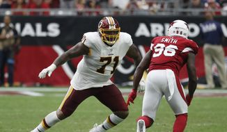 Washington Redskins offensive tackle Trent Williams (71) during an NFL football game against the Arizona Cardinals, Sunday, Sept. 9, 2018, in Glendale, Ariz. (AP Photo/Rick Scuteri) **FILE**