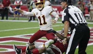 Washington Redskins quarterback Alex Smith (11) during an NFL football game against the Arizona Cardinals, Sunday, Sept. 9, 2018, in Glendale, Ariz. (AP Photo/Rick Scuteri)