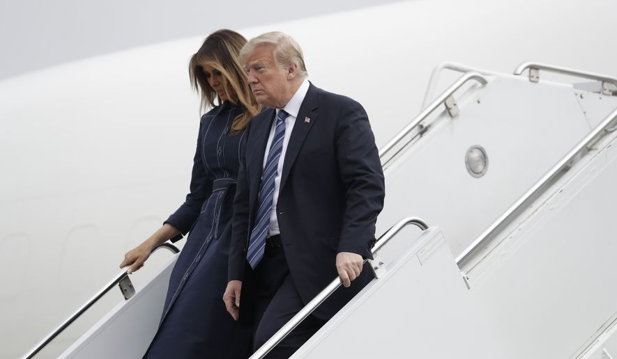 President Donald Trump and first lady Melania Trump arrive at the John Murtha Johnstown-Cambria County Airport in Johnstown, Pa., Tuesday, Sept. 11, 2018. Trump will be speaking during the September 11th Flight 93 Memorial Service in Shanksville, Pa. (AP Photo/Evan Vucci)