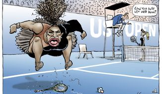 "This Mark Knight's cartoon published by the Herald Sun depicts Serena Williams as an irate, hulking, big-mouthed black woman jumping up and down on a broken racket. The umpire was shown telling a blond, slender woman  meant to be Naomi Osaka, who is actually Japanese and Haitian  ""Can you just let her win?"" (Mark Knight/Heral Sun-News Corp. via AP)"
