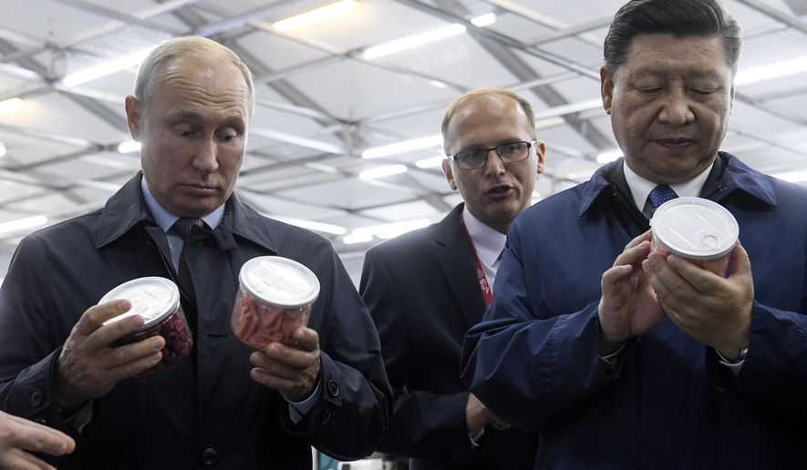 Chinese President Xi Jinping, right, and Russian President Vladimir Putin look at containers of food as they visit an exhibition during the Eastern Economic Forum in Vladivostok, Russia, Tuesday, Sept. 11, 2018. (Kirill Kudryavtsev Photo via AP)