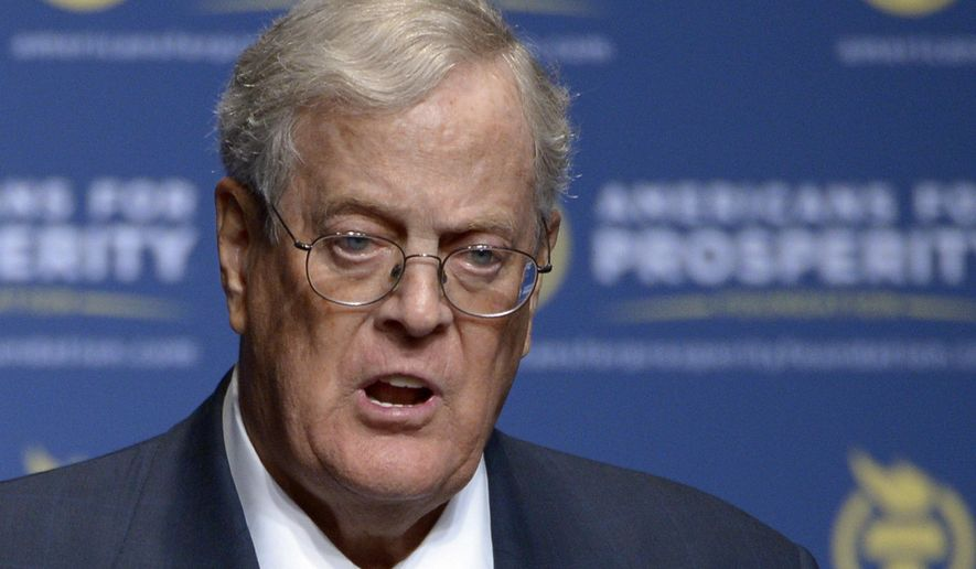 FILE - In this Aug. 30, 2013, file photo, Americans for Prosperity Foundation Chairman David Koch speaks in Orlando, Fla. Koch is stepping down from the Koch brothers network of business and political activities. A U.S. appeals court says California's attorney general can collect the names and addresses of top donors to two conservative non-profit groups, including one with links to the billionaire Koch brothers. A three-judge panel of the 9th U.S. Circuit Court of Appeals said Tuesday, Sept. 11, 2018, the information from Americans for Prosperity Foundation and Thomas More Law Center serve the important state goal of preventing charities from committing fraud. (AP Photo/Phelan M. Ebenhack, File)