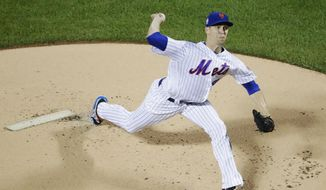 New York Mets' Jacob deGrom delivers a pitch during the first inning of a baseball game against the Miami Marlins Tuesday, Sept. 11, 2018, in New York. (AP Photo/Frank Franklin II) **FILE**