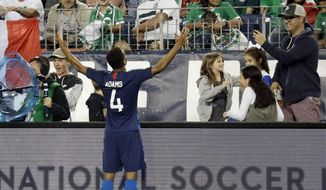 United States midfielder Tyler Adams (4) celebrates after scoring a goal against Mexico during an international friendly match Tuesday, Sept. 11, 2018, in Nashville, Tenn. The United States won 1-0. (AP Photo/Mark Humphrey)
